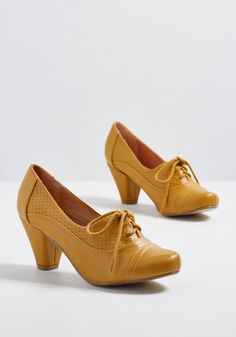 1930s Style Shoes – Art Deco Shoes Chelsea Crew Right Here Oxford Heel in Curry in 38 - Mid Heel - Over 2 -3 by Chelsea Crew from ModCloth $44.99 AT vintagedancer.com