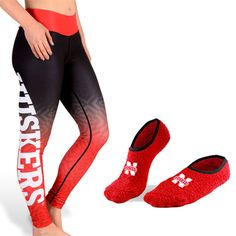 Nebraska Huskers Womens Official NCAA Gradient Print Leggings + Foot-Z Bundle