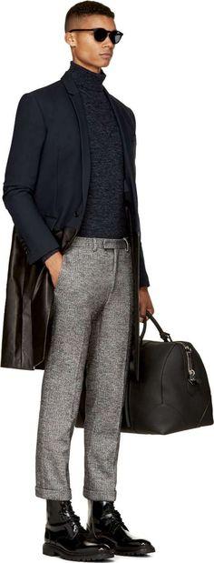 Navy Leather & Wool Long Blazer