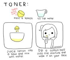lemon juice + water = natural face toner. I like that this recipe comes with a cute illustration.