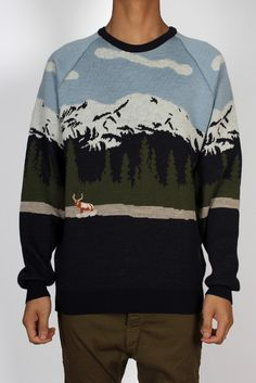 GOOD AS GOLD — MOREPORKS Landscape Scene Sweater, green/blue/white    http://www.goodasgold.co.nz/collections/moreporks