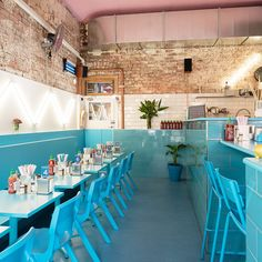ocean blue tables and chairs to the kitchen counter, matte pink ceiling #PhamilyKitchen #Melbourne #vietnamese
