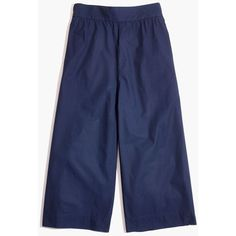 MADEWELL Mayfield Culotte Pants (905.215 IDR) ❤ liked on Polyvore featuring pants, capris, deep navy, wide leg cropped trousers, blue trousers, fitted pants, blue crop pants and blue wide leg pants