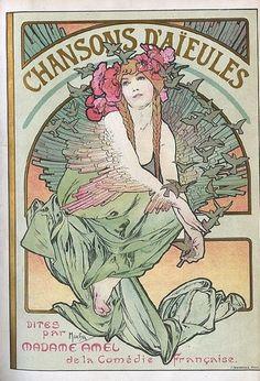Chansons d'aieules dites par Madame Amel de la Comédie Française. Alfons Mucha