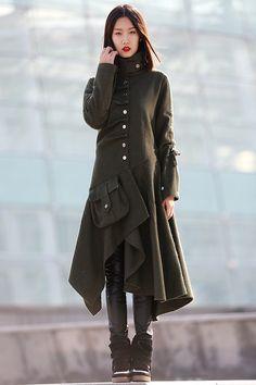 winter jacket wool women Army Green coat C183 by YL1dress on Etsy https://www.etsy.com/listing/170613514/winter-jacket-wool-women-army-green-coat