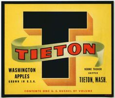 TIETON T Vintage Apple Crate Label