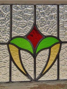 Art Nouveau Red Floral Golden Heart Antique Stained Glass