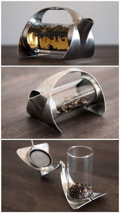 SORAPOT a simple, minimalist teapot made from stainless steel and glass Teapot Design, Cafetiere, Ceramic Tableware, Tea Art, Cool Inventions, Clever Design, Industrial Design, Rings For Men, Mugs
