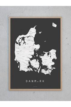 Kort Danmark (A3) - koksgrå