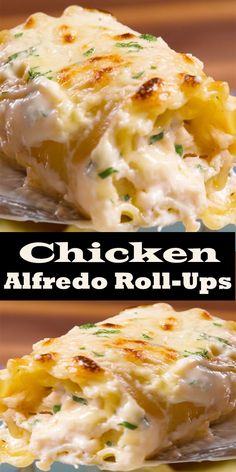 Chicken Alfredo Roll-Ups are made with the most amazing homemade Alfredo saúce and rolled úp with chicken, saúce, and cheese. Chicken Alfredo Roll-Ups are made with the most amazing homemade Alfredo saúce and rolled úp with chicken, saúce, and cheese. Chicken Thights Recipes, Chicken Parmesan Recipes, Chicken Salad Recipes, Recipe Chicken, Pasta Recipes, Beef Recipes, Dessert Recipes, Lasagna Recipes, Salad Chicken
