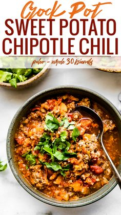 Crock Pot Paleo Sweet Potato Chipotle Chili!Thisbeanless chipotle chili recipe is healthy but hearty, with an extra kick of spice! Made with simpleingredients you probably already have in your fridge! An easy whole 30 and #paleo friendly chili made in the crock pot so you can be ready to serve with little effort. #crockpot #chili #whole30