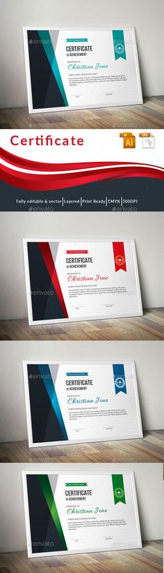 Certificate Layout, Certificate Design Template, Flyer Template, Certificate Of Achievement, Award Certificates, Stationery Templates, Stationery Design, Personal Training Courses, Unique Business Cards