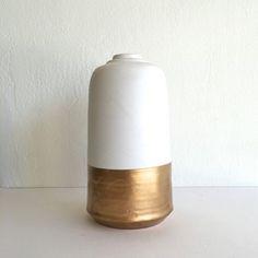 White and Gold Dipped Ceramic  Vase