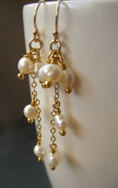 Pearl Cluster Earrings for your White Summer Dress, Bridal Earrings Long, Gold Filled Dangle Earrings Made In Sweden,Bridal Wedding Prom Cluster Earrings, Bead Earrings, Bridal Earrings, Wedding Jewelry, Leaf Necklace, Earrings Online, Fall Jewelry, Beaded Jewelry, Handmade Jewelry