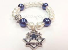 Dallas Cowboys Beaded Bracelet NFL Football by RandRsWristCandy