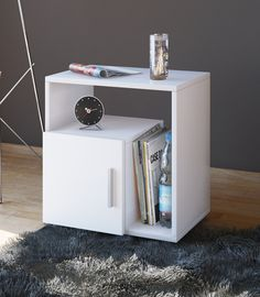 Browse through hundreds of bedside tables & cabinets from traditional oak to contemporary white. Choose a look to suit your home & enjoy FREE delivery on orders over Shop Online now! Cube Side Table, Modern Side Table, Bedside Drawers, Table For Small Space, Night Table, Hazelwood Home, Cool Furniture, Interior Inspiration, Pallets