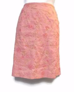 Women's Ann Taylor Floral Pink Skirt Beaded Lined Size 8 #AnnTaylor #ALine