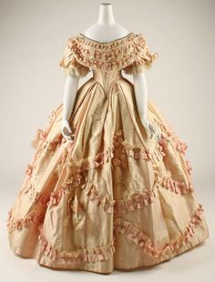 """Victorian Fashion: 1860's fashion"" -- I like the design, although wish it were in a deep hue of another colour... with extra touches in black. (:"