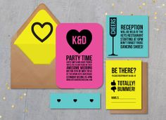 Neon wedding invitationbright wedding by DAYDREAMPRINTS on Etsy, $10.00