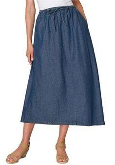Plus Size Flared denim skirt