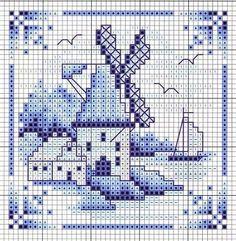 delfts blauw tegeltje - kruissteekpatroon