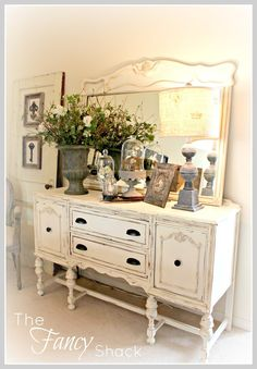 Annie Sloan Chalk Painted Buffet and Mirror - two mismatched furniture pieces work well together when painted the same color - via The Fancy Shack: Living Room Reveal! Repurposed Furniture, Shabby Chic Furniture, Shabby Chic Decor, Vintage Furniture, Painted Furniture, Mismatched Furniture, Furniture Makeover, Furniture Plans, Kids Furniture