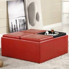 Cabernet Ottomans Red Ottoman Table Leather Storage