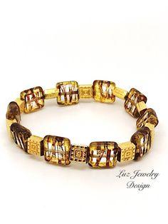 Brown boho bracelet, Boho brown bracelet, gold brown bracelet, light brown bracelet, cognac brown bracelet, rust brown bracelet, matte brown