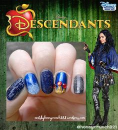 """Evie""(from Disney Descendants) Inspired Nails evie inspired nails 4 Funky Nail Art, Cute Nail Art, Cute Nails, Pretty Nails, Kid Nails, Minion Nails, Disney Princess Nails, Disney Nails, Disney Nail Designs"