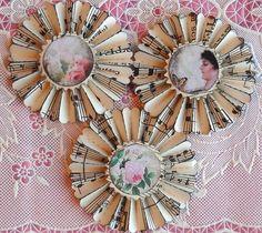vintage music paper rosettes The Garden set of 3 by jardindepapier, $8.00