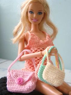 barbie crochet dress & bags
