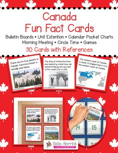 Discover fascinating facts about Canada as part of your Canada unit! Canada Fun Fact Cards can be used for centers, calendar time, games, bulletin boards, and circle time. Make these fun facts part of your Canada unit! Geography For Kids, World Geography, Canada For Kids, Canada 150, Fun Facts About Canada, Canada Information, Circle Time Games, Kids Bulletin Boards, Fun Facts For Kids
