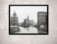 Syracuse, New York, year 1904.Erie Canal at Salina Street, Syracuse, NY.  Historical Syracuse photo.Syracuse poster.
