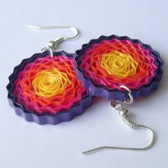 Multicolored crimped quilling earrings