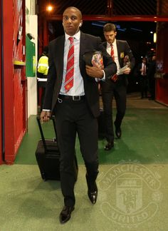 Ashley Young and Michael Carrick (tonight's captain) arrive at Old Trafford. 2.12.2014.