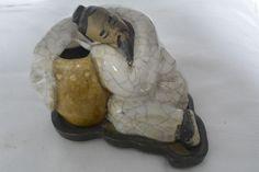 Chinesische Porzellan Keramik Figur –  Konfuzius beim nachdenken?