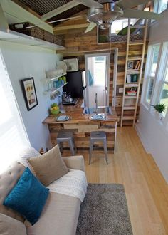Just make sure you can still use the ladder. - Tiny House Loft Ladder | Simply Marie Tiny House Blog