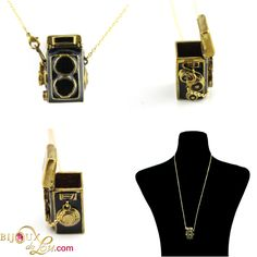 This wonderfully retro camera necklace is in the form of a classic Rolleiflex and the top opens up to allow one to store trinkets inside the camera locket! Camera Necklace, Locket Necklace, Arrow Necklace, 3d Camera, Retro Camera, Rolleiflex Camera, Brass Chain, Black Enamel, Jewelery