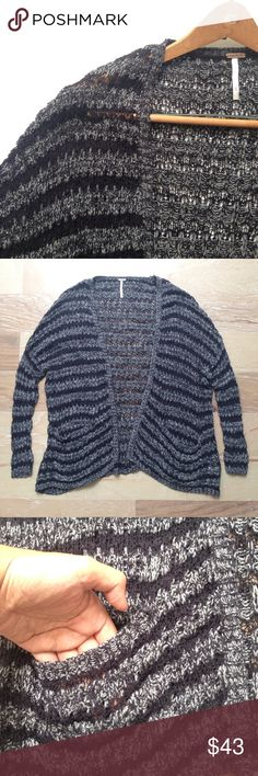 """Free People cardigan Free People black/gray cardigan with two front pockets in size XS. Slightly oversized. Pit to pit 23"""", length 26"""". EUC Free People Sweaters Cardigans"""