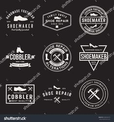 vector set of shoemaker and shoe repair labels, badges and design elements with grunge textures Professional Shoes, Running Club, Clean Shoes, Logo Inspiration, Design Elements, Shirt Designs, Logo Design, Leather, Handmade