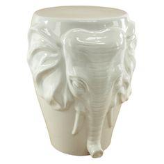 Rad. Aspire Home Accents White Elephant Garden Stool | from hayneedle.com @hayneedle #elephant #decor #gardenstool #white