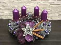 Purple Candles Add to the Holiday Feel Christmas Swags, Purple Christmas, Christmas Villages, Christmas Candles, Christmas Centerpieces, Christmas Fun, Christmas Decorations, Xmas, Purple Candles