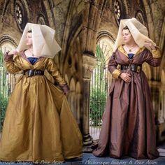 Medieval dress, burgundian, Silk - reversible! 15th Century