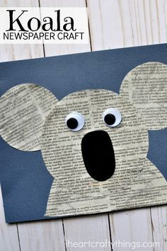 Fun and simple newspaper koala craft for kids, fun kids craft, animal crafts for kids, Earth Day crafts and preschool kids craft. SING movie inspired Koala craft for kids. for kids Cute Newspaper Koala Craft Animal Crafts For Kids, Fun Crafts For Kids, Summer Crafts, Toddler Crafts, Preschool Crafts, Arts And Crafts, Kids Fun, Diy Crafts, Preschool Themes