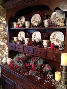 Pretty Christmas Decor hutch decorating idea
