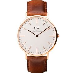 Daniel Wellington St. Andrews Watch.Brown leather strap with a rose gold bezel and a white dial 106DW