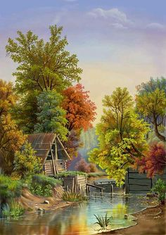 The small cottage by the lake ~ Viktor Tsyganov - Painting Scenery Paintings, Nature Paintings, Beautiful Paintings, Beautiful Landscapes, Cenas Do Interior, Landscape Art, Landscape Paintings, Art Et Nature, Pictures To Paint
