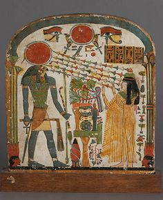 """Stele of Lady Taperet, Third Intermediate Period, Dynasty, or century BC, painted wood. """" This small wooden stele is exceptional in many ways. Both sides are painted and in good. Ancient Egyptian Deities, Ancient Civilizations, Ancient Art, Ancient History, Egyptian Mythology, Egyptian Pharaohs, Amenhotep Iii, Art Ancien, Art Antique"""