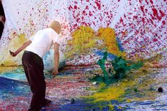 Shōzō Shimamoto, Performance a Punta Campanella, 7 maggio Action Painting, Artist At Work, Japanese, Studio, Milano, Artists, Party, Art History, Tinkerbell