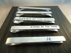 Set of 10 - Men's Personalized Tie Clip - Tie Bar - Father of the Bride - Father of the Groom - Men's Wedding Accessories - Custom Tie Clip on Etsy, $102.00